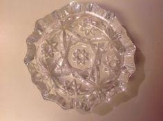 "Vintage Cut Crystal Glass Cigar Cigarette Ash Tray Ashtray Small 4""  picclick.com"