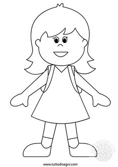 bambina-zaino-2 Coloring For Kids, Coloring Books, Coloring Pages, Body Preschool, Preschool Crafts, Painting For Kids, Drawing For Kids, Paper Doll Template, Flax Weaving