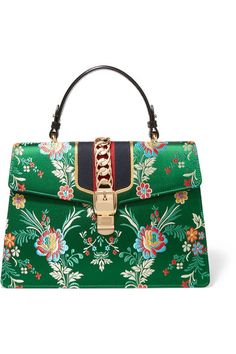 Gucci - Sylvie Large Chain-embellished Jacquard And Leather Tote - Green - one size
