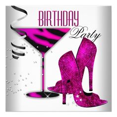 Hot Pink Glitter High Heels Womans Birthday Party Card Glitter