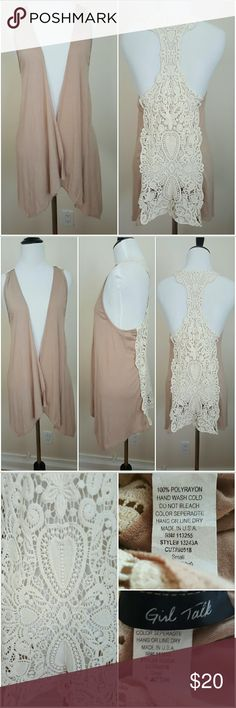 Lace crochet back nude swing vest Small Lace crochet back nude swing vest Small 100%polyrayon Girl Talk  Tops