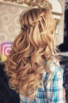 30 Wedding Hairstyles 2019 Ideas wedding hairstyles 2019 braided waterfall on long curly blonde hair naida_style Frontal Hairstyles, Sleek Hairstyles, Box Braids Hairstyles, Bride Hairstyles, Dinner Hairstyles, Christmas Hairstyles, Short Hairstyles, Medium Hair Styles, Curly Hair Styles