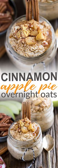 Cinnamon Apple Pie Overnight Oats makes the perfect easy and healthy breakfast. Best of all, this recipe takes only a few minutes and you can easily make it ahead the night before. It's gluten free, dairy free and refined sugar free. Full of cozy fall flavors and it's like having dessert for breakfast!
