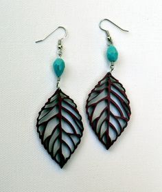 Wood Earrings Laser Cut Leaves by JohnLeslieStudios on Etsy, $22.00