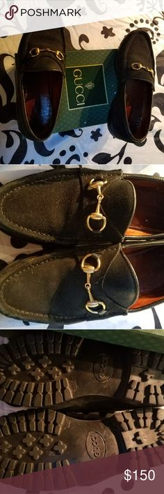 Gucci suede loafers Gucci black suede loafers. Horse Bit style. Great Condition. Gucci Shoes Flats & Loafers