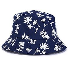 BIBITIME Tropical Coconut Palm Tree Printed Bucket Hat Beach Vocation Sunhat Cap Hat circumference2283 Navy -- You can find more details by visiting the image link.