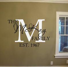 Family Last Name Monogram Personalized Custom Wall Decal Sticker - Family monogram wall decals