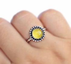 Yellow Chalcedony Boho Ring round gemstone by SaruchiRJewellery