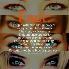 people with blue and green eyes