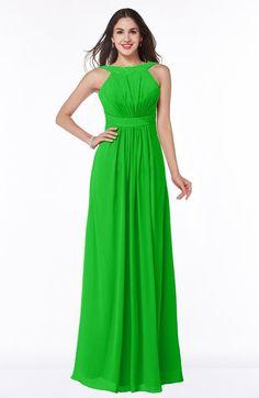Classic Green Glamorous A-line Thick Straps Sleeveless Chiffon Sash Plus Size Bridesmaid Dresses