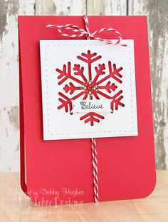 handmade winter card ... red and white ... clean and simple ... stictched die cut square with negative space die cut snowflake showing the red background card ... luv it!