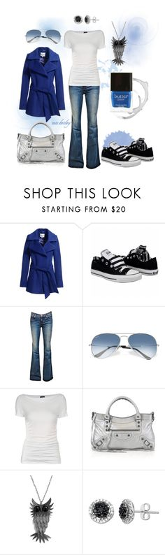 """Comfy Blue"" by tx-redhead ❤ liked on Polyvore featuring Reiss, Converse, J Brand, Ray-Ban, Armani Jeans, Balenciaga, Lord & Taylor, Butter London, aviator sunglasses and chucks"