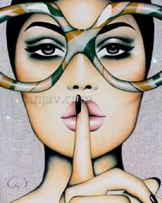 """""""Quiet Crystals"""" painting available at JoAnne Artman Gallery #Swarovski background #art#joanneartmangallery #sunglasses#shades#swarovskicrystals #anjavanherle #shhh"""