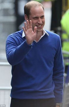 William waved and smiled as cheers erupted in the crowds outside The Lindo Wing at St Mary's Hospital this afternoon. He is due to return with Prince George imminently
