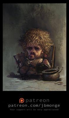 Tyrion Lannister // Game Of Thrones // Jean Baptiste Monge Valar Dohaeris, Valar Morghulis, Tyron Lannister, Illustrations, Illustration Art, Game Of Thrones Art, Fan Art, Gustav Klimt, Fantasy Art