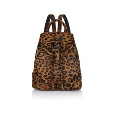 meli melo Mini Backpack (596.395 CLP) ❤ liked on Polyvore featuring bags, backpacks, cheetah, leather drawstring backpack, brown leather backpack, miniature backpack, draw string backpack and leather backpacks