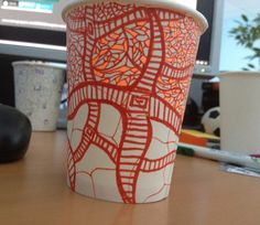 Paper cup drawings. In progress