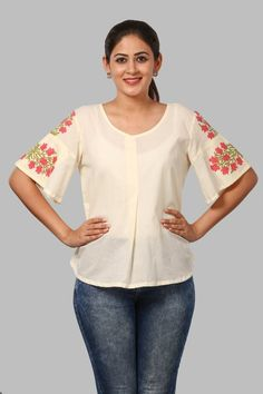 simple and chic overlapped top with floral sleeves top. Frock For Teens, Frock For Women, Casual Dress Outfits, Mode Outfits, Jeans Top Design, Floral Tops, Fashion Pants, Fashion Outfits, Indian Tops