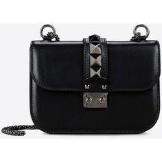 Valentino Garavani Noir Small Chain Cross Body Bag ($2,345) ❤ liked on Polyvore featuring bags, handbags, shoulder bags, black, crossbody handbags, valentino purses, chain strap crossbody, chain strap purse and chain crossbody