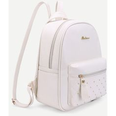 7654447e0c5 Studded PU Backpack With Mini Backpack Charm (£15) ❤ liked on Polyvore  featuring bags and backpacks