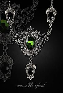 """POISON IVY"" gothic choker, Evening necklace, leaves, green stone"