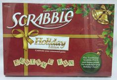 #Scrabble #Game Holiday Edition Red & Green Letters Wooden Tiles Sealed New