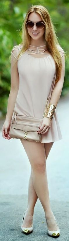Hot Miami Styles Nude Adorable Strappy Neckline Mini Dress by Chic Fashion World