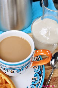 All-Natural Homemade Vanilla Coffee Creamer ~ 4 ingredients and 5 minutes for preservative-free creamer   FiveHeartHome.com No dry milk!