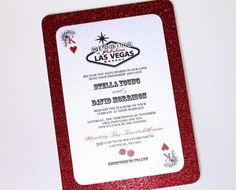 Las Vegas Wedding Invitation! This is apart of the Stella Collection. This is a Flat Panel invitation, Playing card style printed on White