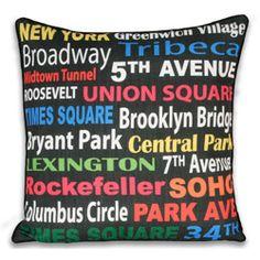 Neon New York Subway Sign 20x20-inch Pillow