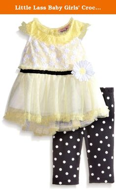 Little Lass Baby Girls' Crochet Daisy Lace Tulle Capri Set, Yellow, 6-9 Months. Little Lass offers cute and comfortable styles with quality construction. She is adorable in this 2 piece capri set with a crochet daisy lace top, tulle hi-lo hem, tacked on daisy flower, and daisy printed knit capri.