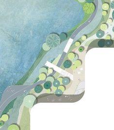 Landscape Ideas For Backyard Landscape Model, Landscape Design Plans, Landscape Architecture Design, Architecture Visualization, Architecture Graphics, Architecture Drawings, Architecture Plan, Urban Landscape, The Wave