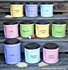 Fresh Eggs Daily: DIY Chicken Feed Supplement Canister Organization - and recipe for Breakfast of Champions layer mix. by jeri Chicken Life, Chicken Feed, Chicken Houses, Chicken Treats, Farm Chicken, Chicken Eggs, Diy Chicken Toys, Chicken Garden, Keeping Chickens