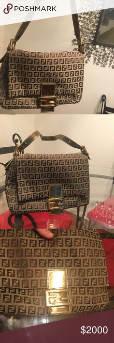 6b84dbe75697 Rare Fendi Zucca Mama bag w  gold leather accents This is an extremely rare Fendi  shoulder bag with gold leather details. It has an interior pocket and a ...
