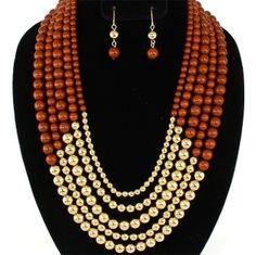 Chocolate Brown Bead Statement Necklace Set Elegant Jewelry www.ElegantCostumeJewelry.com