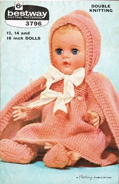 Dolls clothes knitting pattern for 12, 14 and 16 inch doll. Vintage copy. PDf instant download.    Lovely vintage knitting pattern for hooded cape, pretty dress, bootees and knickers.    Knitted in Double Knitting wool. The whole set takes approx 100gms for the 12 set and approx 200 gms for the 16 set. Knits on number 9 & 11 needles (3.75mm & 3mm). Tension 6st and 8 rows to 1inch    What little girl could want more for her Baby doll?    This is a lovely pattern and very easy to knit.    12…