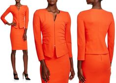 The fabric is a jersey, made from a blend of viscose/poly with elastane for stretch and ease of movement. Originally $1195 at Bloomingdale's, the jacket is on sale for $717 (40% off), but only available in limited sizes. The matching pencil skirt is knee length, with a center back zipper. YOOX carried the suit as well, and also offered it in blue.