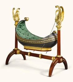 A German Empire gilt brass mounted, green-painted mahogany and carved giltwood rocking cradle probably Leipzig, circa 1825 the boat-shaped cradle lined with later buttoned green silk upholstery Victorian Furniture, Funky Furniture, Baby Furniture, Unique Furniture, Vintage Furniture, Industrial Furniture, Muebles Estilo Art Nouveau, Style Anglais, Style Empire