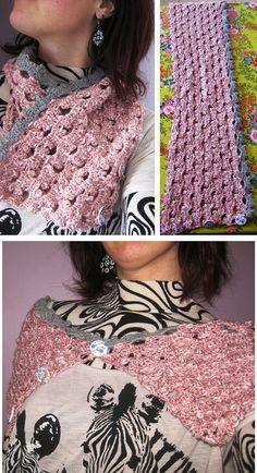 CROCHET - Tour du cou boutonné rose avec une bordure grise sur un seul côté - visuels.