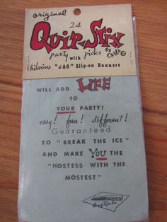Vintage 1960s House of Paper Quip Stix Party Picks by kookykitsch, $25.00