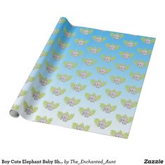 Shop Boy Cute Elephant Baby Shower Wrapping Paper created by The_Enchanted_Aunt. Cute Baby Shower Ideas, Fun Baby Shower Games, Boy Baby Shower Themes, Baby Boy Shower, Baby Shower Decorations, Baby Shower Gifts, Elephant Baby Boy, Elephant Theme, Elephant Baby Showers