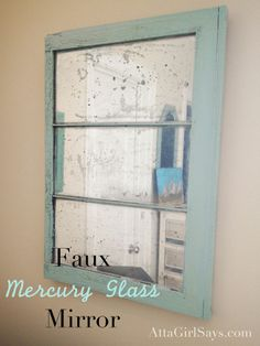 DIY Mercury Glass Mirror-spray paint with Krylon looking glass spray paint...dry 5 min, spray with water and vinegar solution and dab/ wipe away, light respray with paint and then clear coat fro protection. paint frame as desired. voila! :)