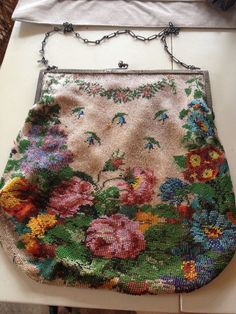 Beautiful Beaded Purse~ Floral~Sterling Frame
