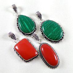 New Wholesale Lot 20 Pcs Malachite & Coral .925 Silver Plated Pendants Jewelry #Unbranded #Pendant