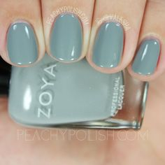 Zoya August | Fall 2016 Urban Grunge Collection | Peachy Polish   August is a blue-toned concrete gray creme.  It dries a little bit darker than it appears in the bottle.  2 coats