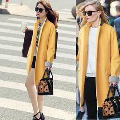 Fashion Stand Collar Slim Long Coat