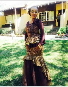 African Wedding Attire, African Attire, African Wear, African Women, African Print Dresses, African Fashion Dresses, African Dress, African Traditional Wedding Dress, Shweshwe Dresses