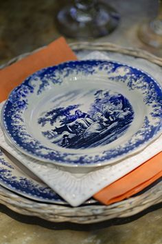 orang, nell hill, plate, white dishes, white pair, transferwar, tablescap, china, amsterdam blue