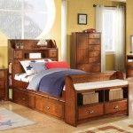 Acme Furniture - Brandon Full Bookcase Trundle Storage Bed in Oak - 11005AF