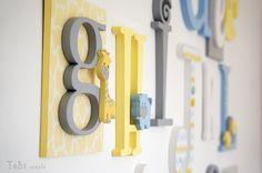 """Sistema de madera alfabeto de letra 6""""- 12"""" - vivero madera letras A-Z-salón de cartas educativas--sala de juegos infantil ABC de la decoración de la pared"""